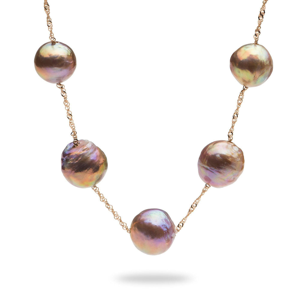 Purple Mixed Freshwater Pearl Necklace in 14K Rose Gold