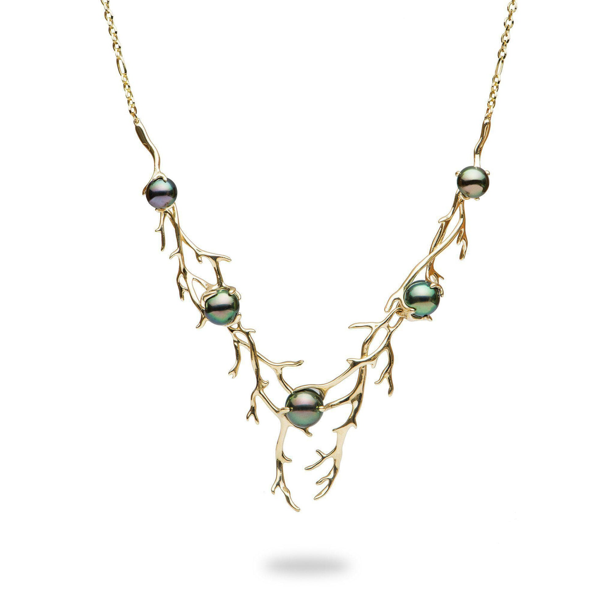 Hawaiian Heritage Tahitian Pearl Necklace in Gold-[SKU]