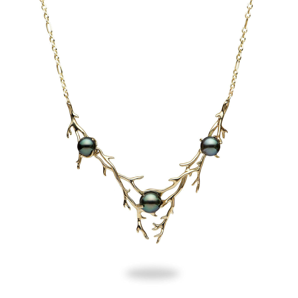 Hawaiian Heritage Tahitian Pearl (8-10mm) Necklace in 14K Yellow Gold