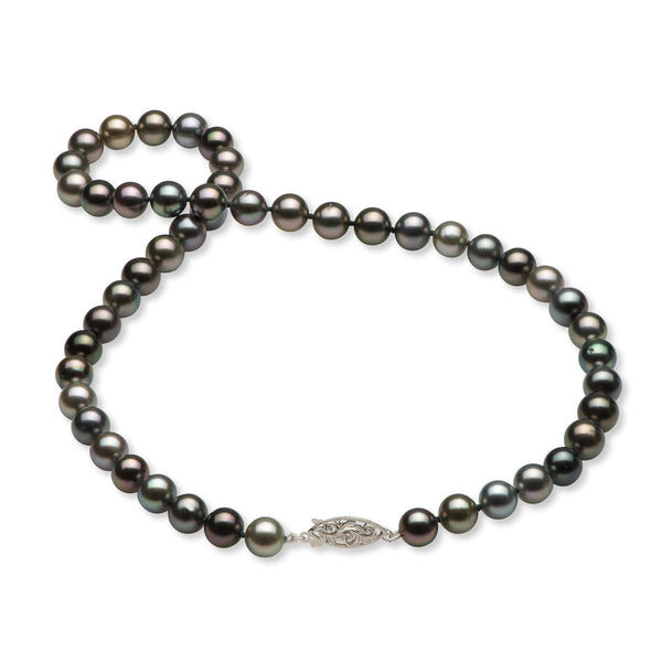 "18-19"" Living Heirloom Tahitian Black Pearl Strand in White Gold-Maui Divers Jewelry"