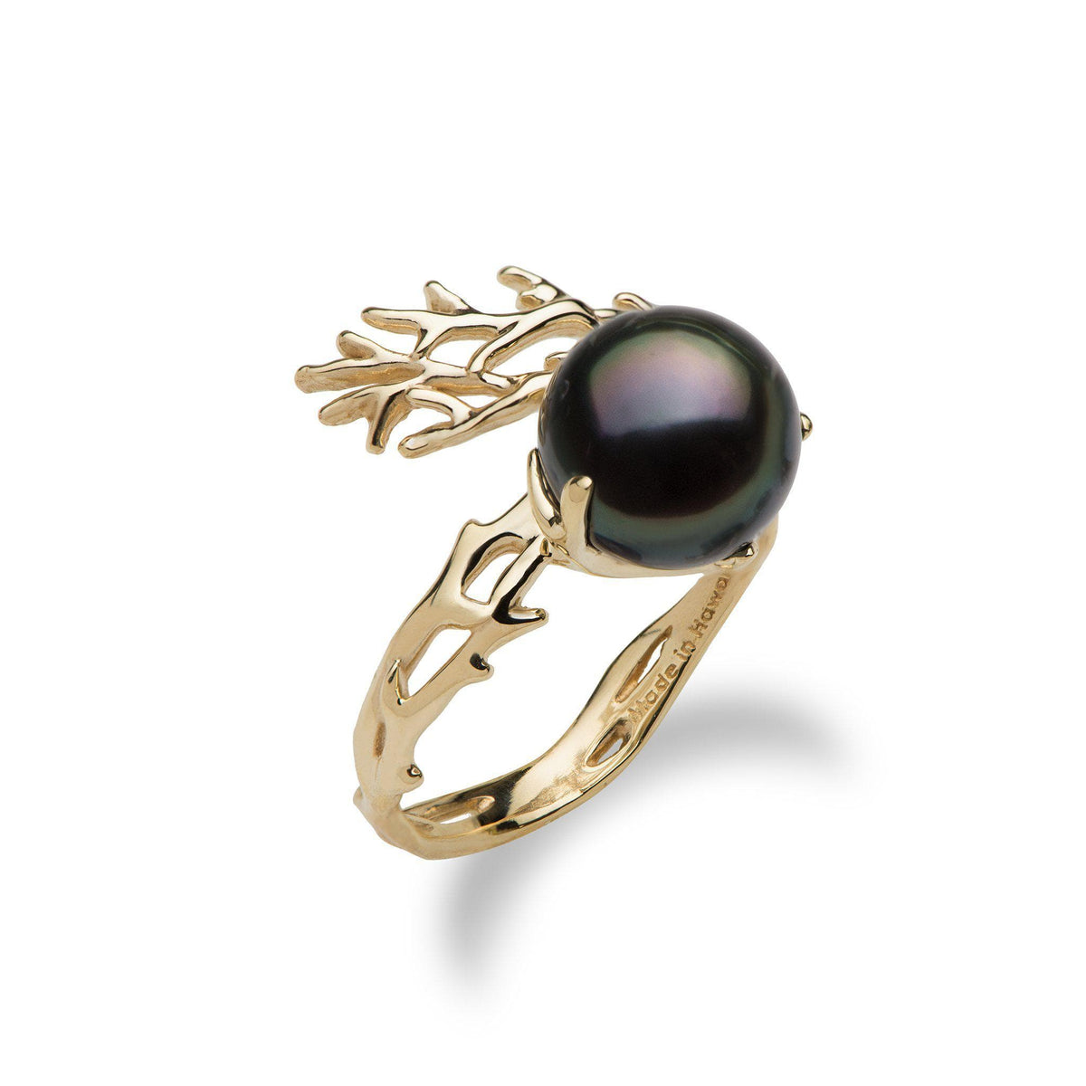 Hawaiian Heritage Tahitian Pearl Ring in 14K Yellow Gold  (9-10mm) 006-14798