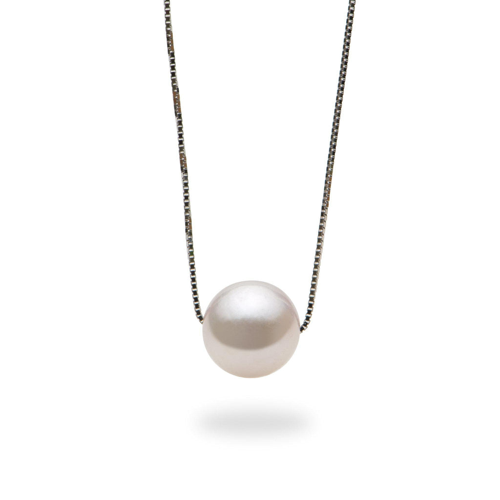 Akoya Pearl Slider Necklace in 14K White Gold (8.5-9mm)-[SKU]