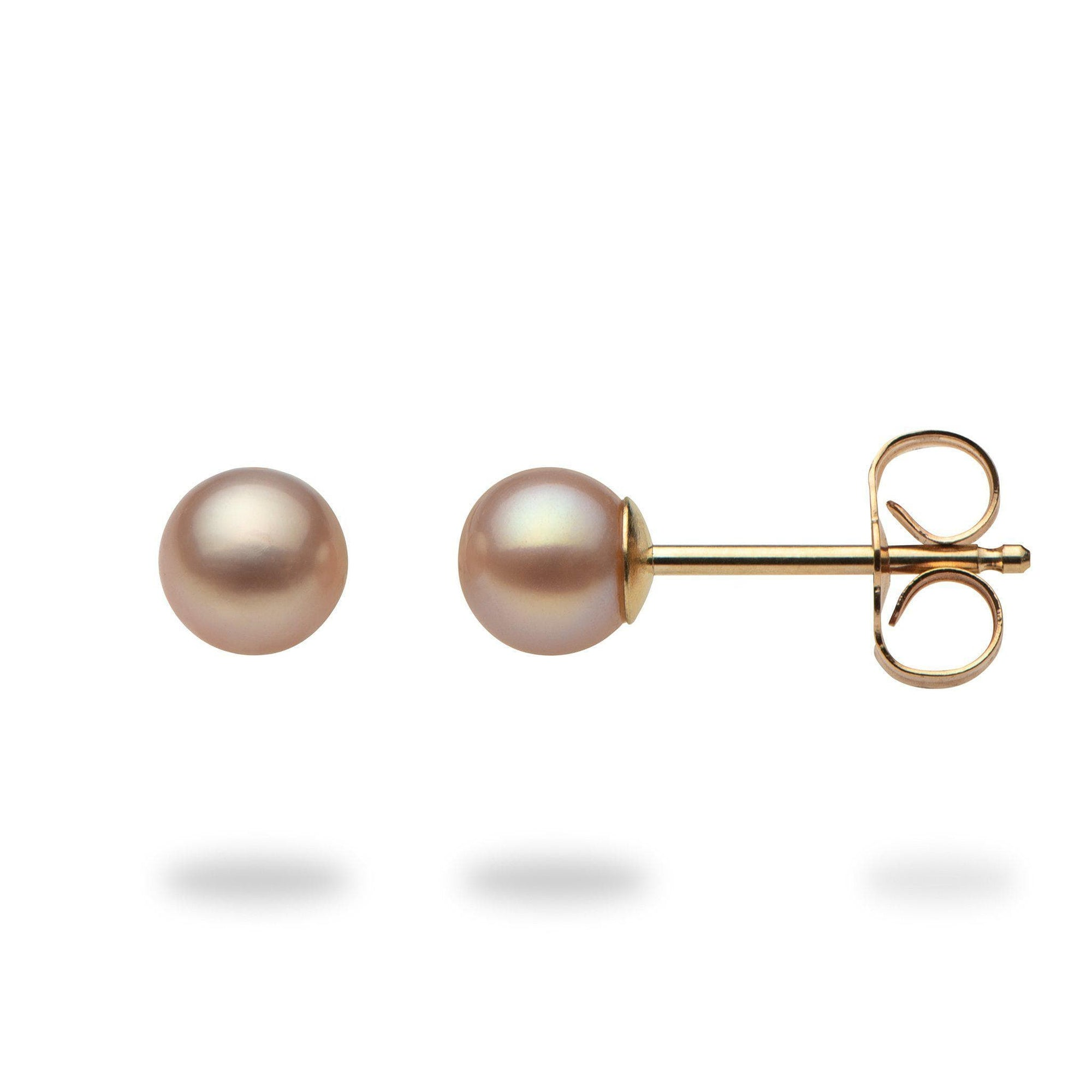 Pink Freshwater Pearl Earrings in 14K Yellow Gold - Maui Divers Jewelry