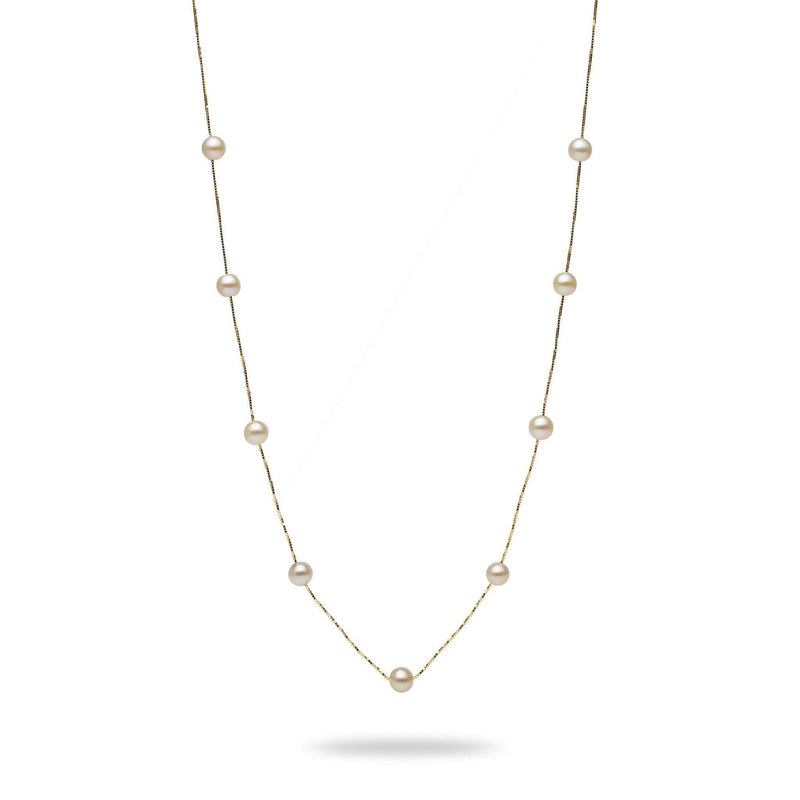 White Freshwater Pearl (5-6mm) Necklace in 14K Yellow Gold 006-14823