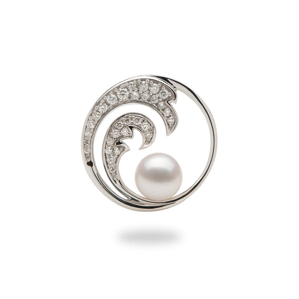 akoya pearl white gold wave pendant with diamonds