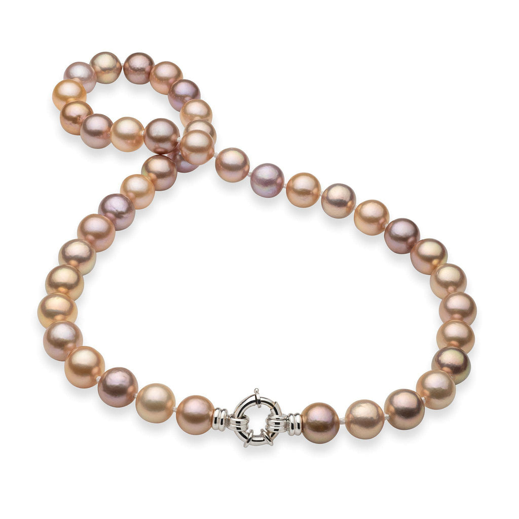 "20-21"" Mixed Freshwater Pearl Strand in 14K White Gold 10-15mm)-[SKU]"