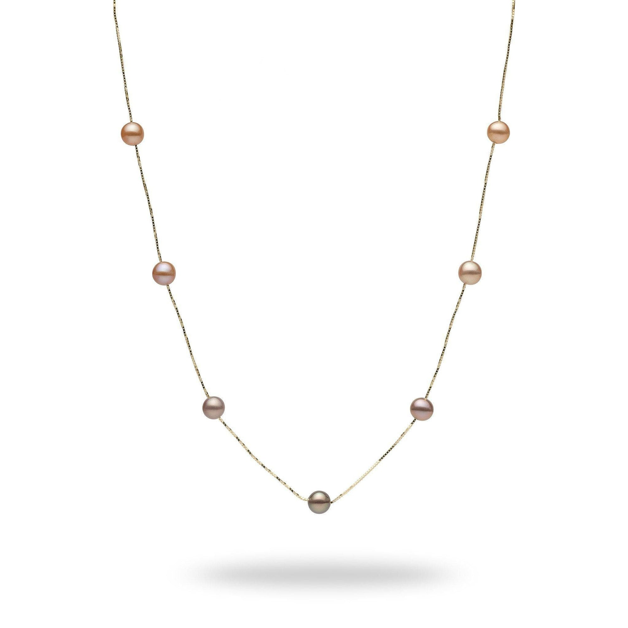 Pink, Purple, and Peach Mixed Freshwater Pearl Necklace in 14K Yellow Gold - Maui Divers Jewelry