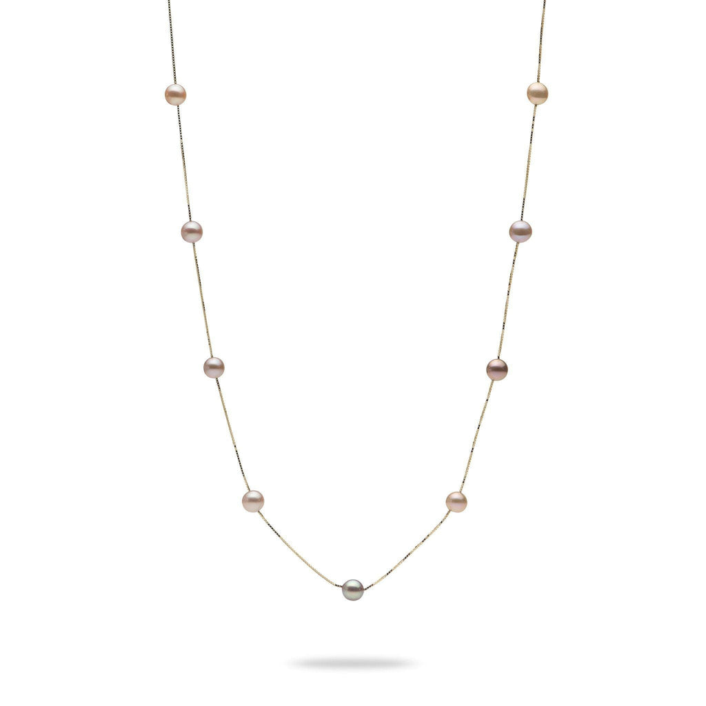 Pink, Purple, and Peach Mixed Freshwater Pearl Necklace in 14K Yellow Gold