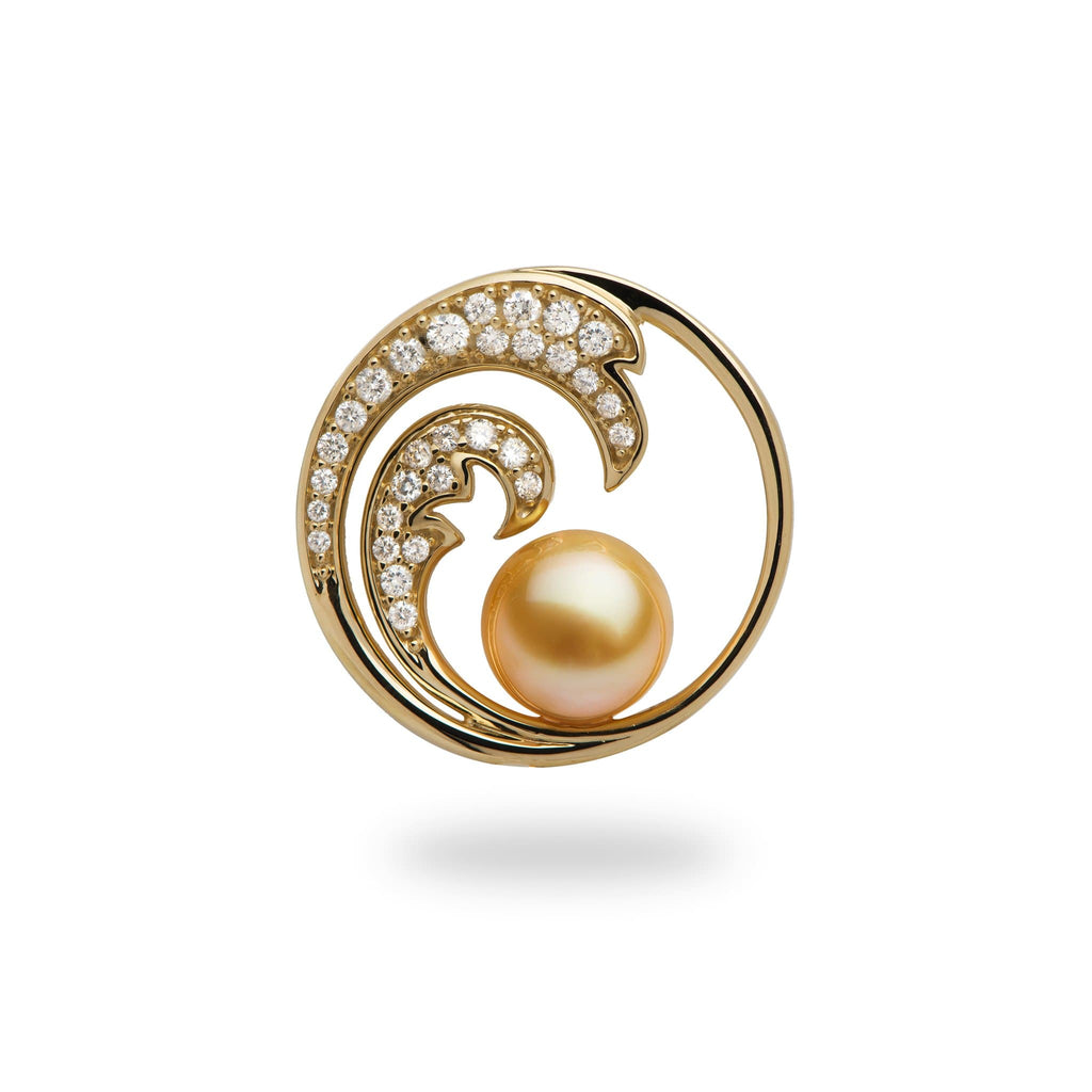 south sea pearl yellow gold wave pendant with diamonds