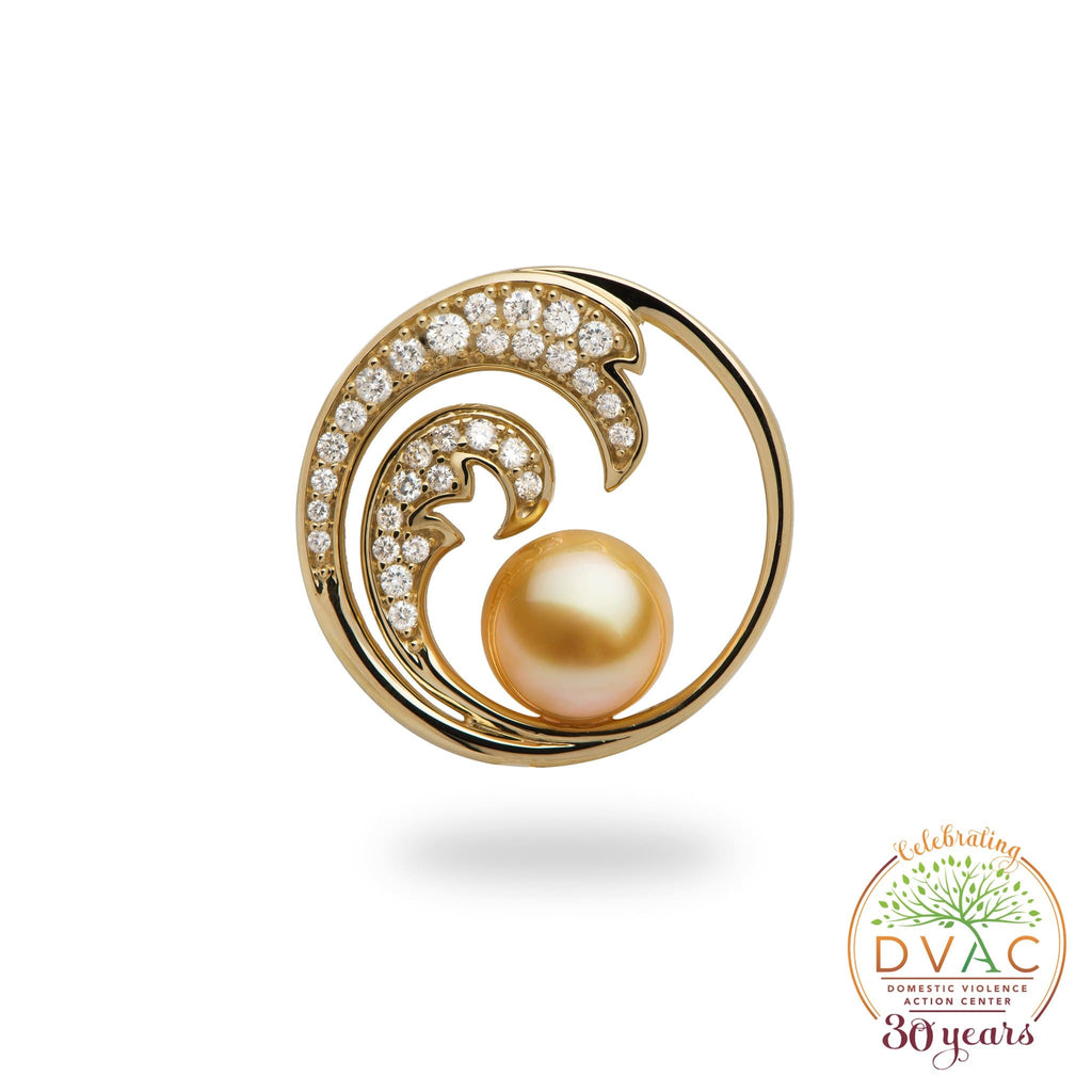 DVAC - Nalu Golden South Sea Pearl Pendant in Gold with Diamonds - 24mm-[SKU]