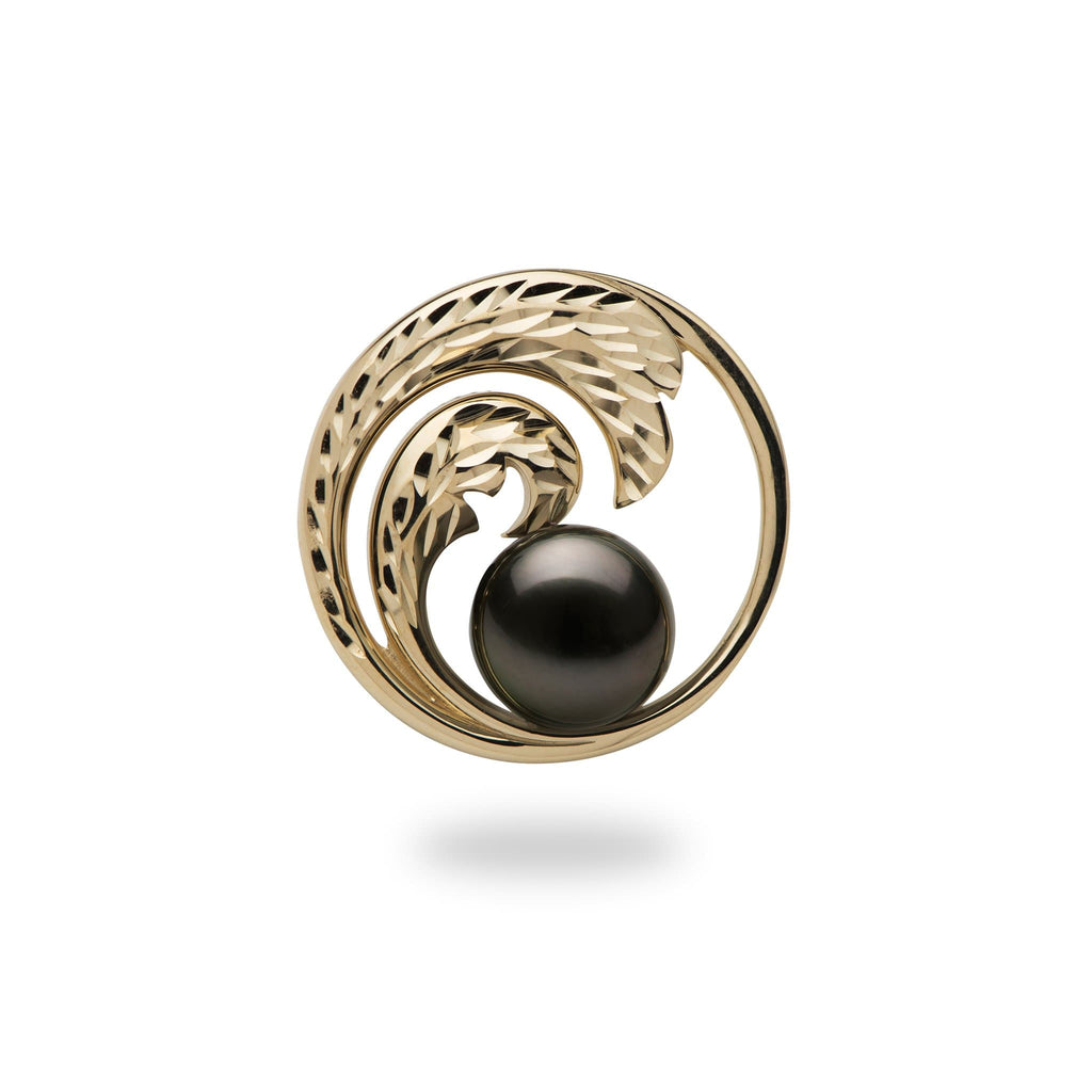 tahitian black pearl yellow gold wave pendant