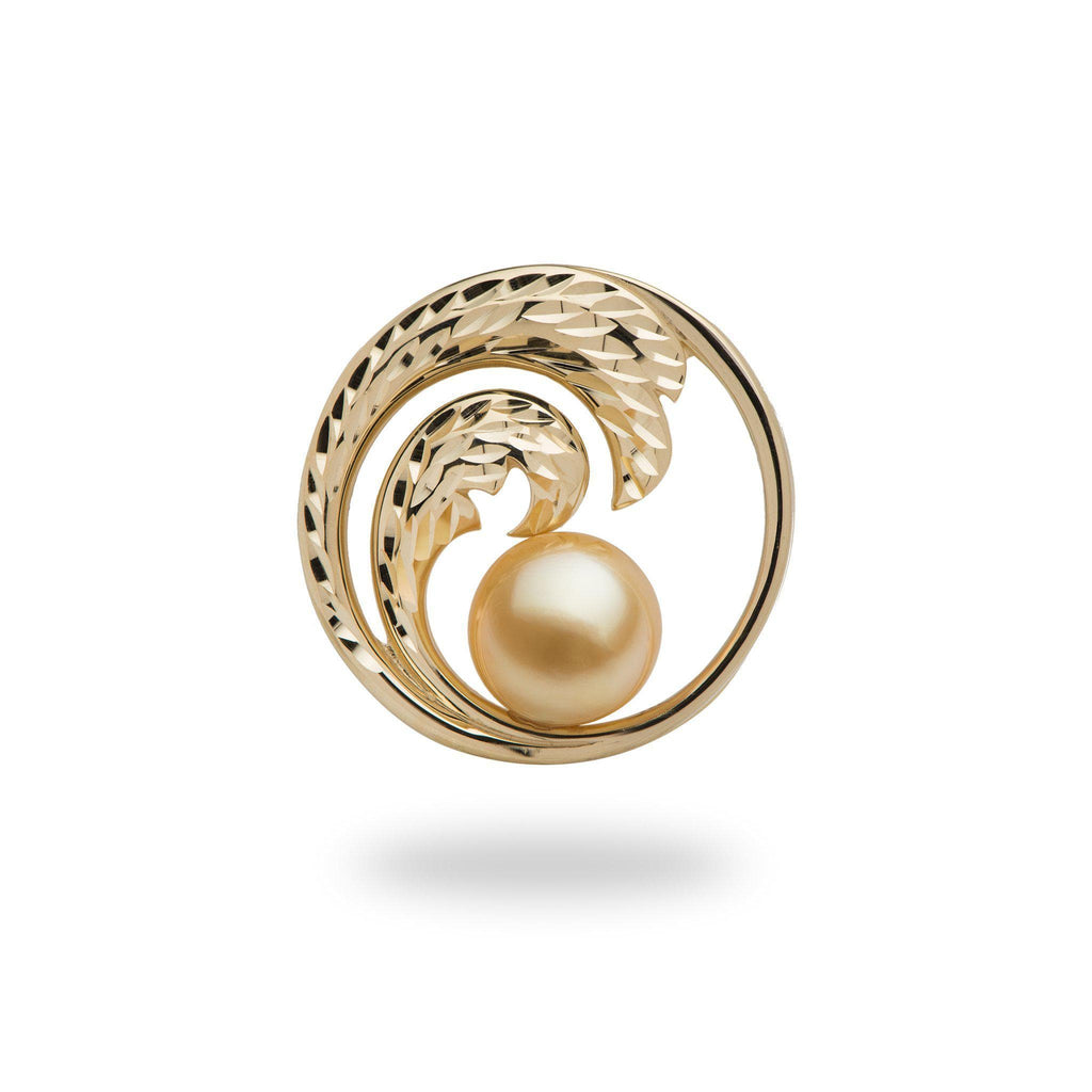 south sea pearl yellow gold wave pendant