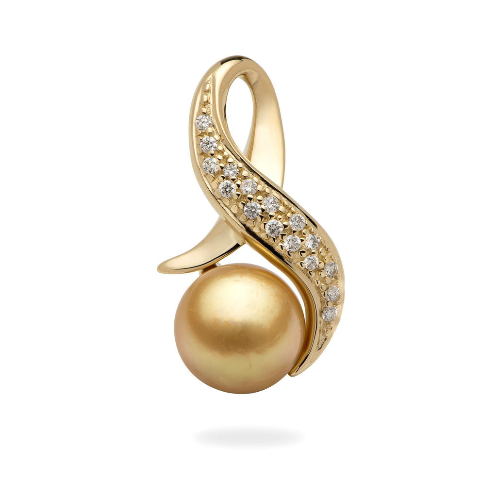 South Sea Golden Pearl Pendant with Diamonds in 14K Yellow Gold (11-12mm)