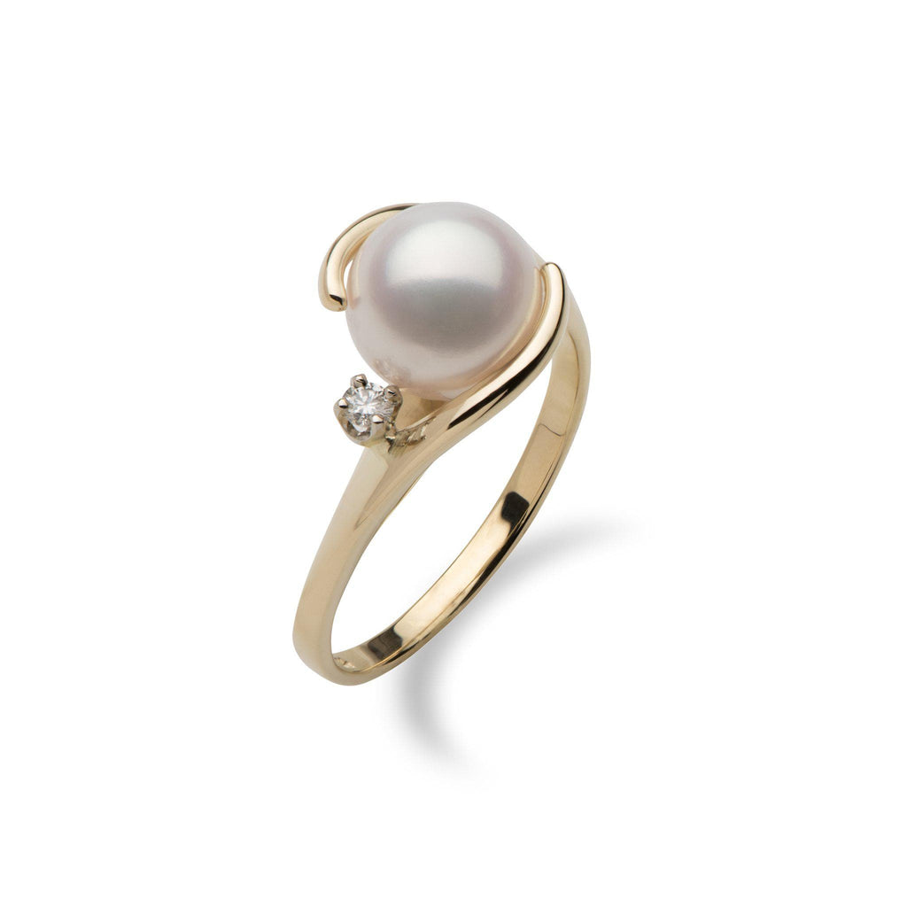 Akoya Pearl Ring with Diamond in 14K Yellow Gold (8mm) - Maui Divers Jewelry