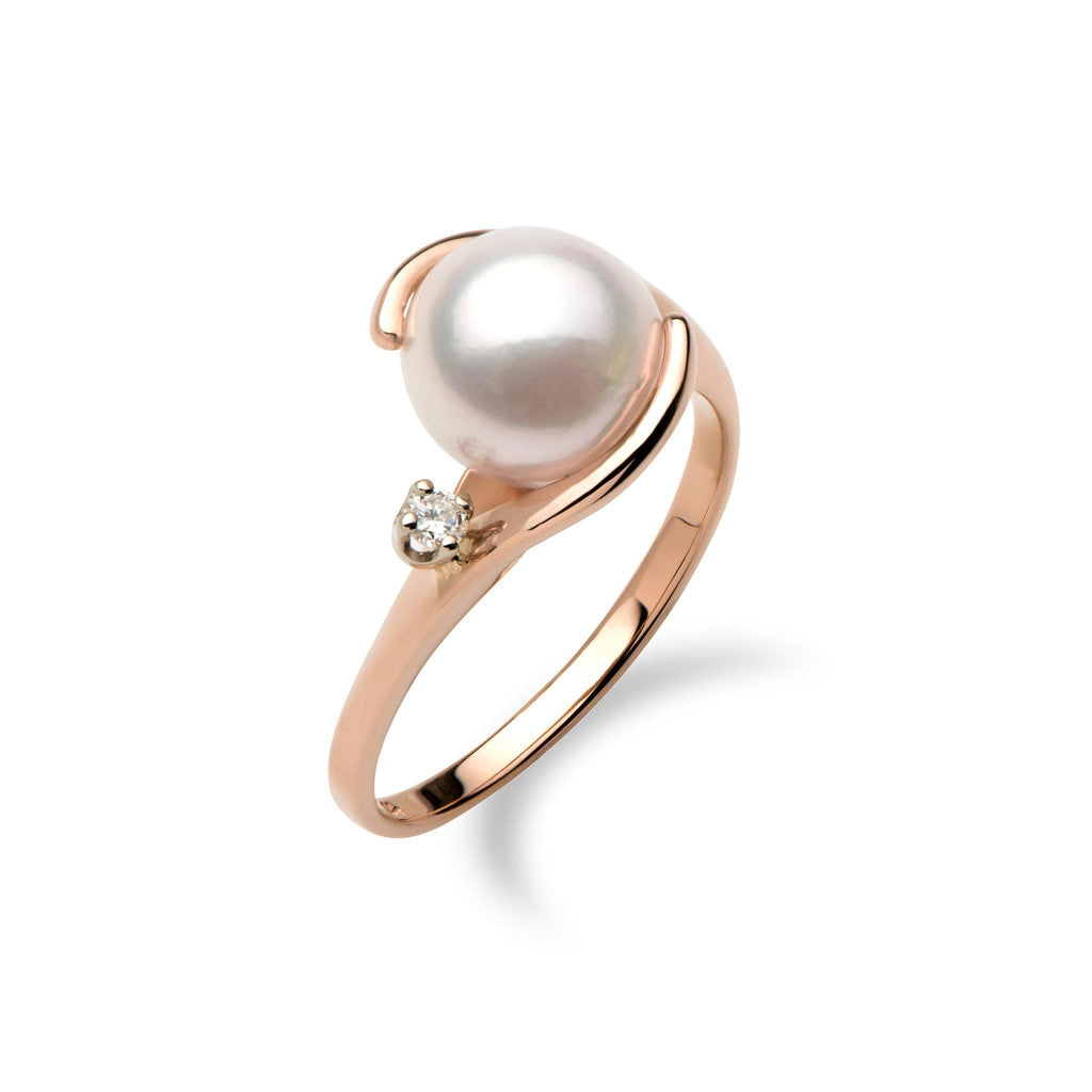 Akoya Pearl Ring with Diamond in 14K Rose Gold (8mm) - Maui Divers Jewelry