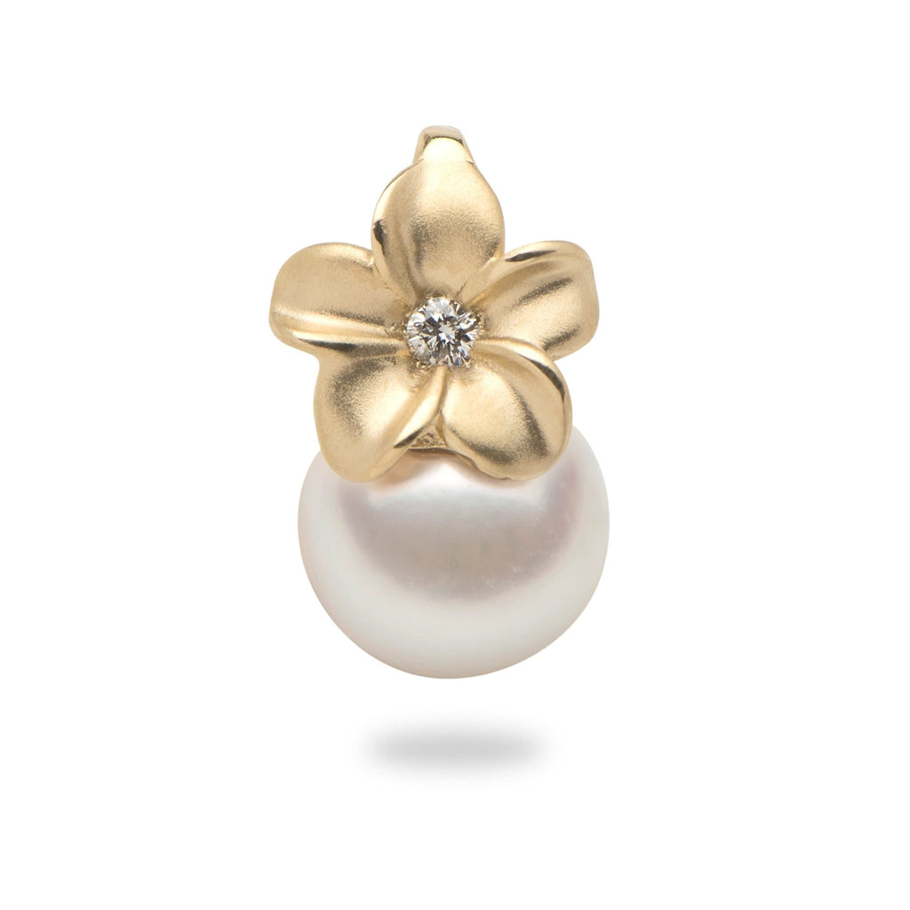 Plumeria Pendant with Akoya Pearl and Diamond in 14K Yellow Gold (8mm) - Maui Divers Jewelry