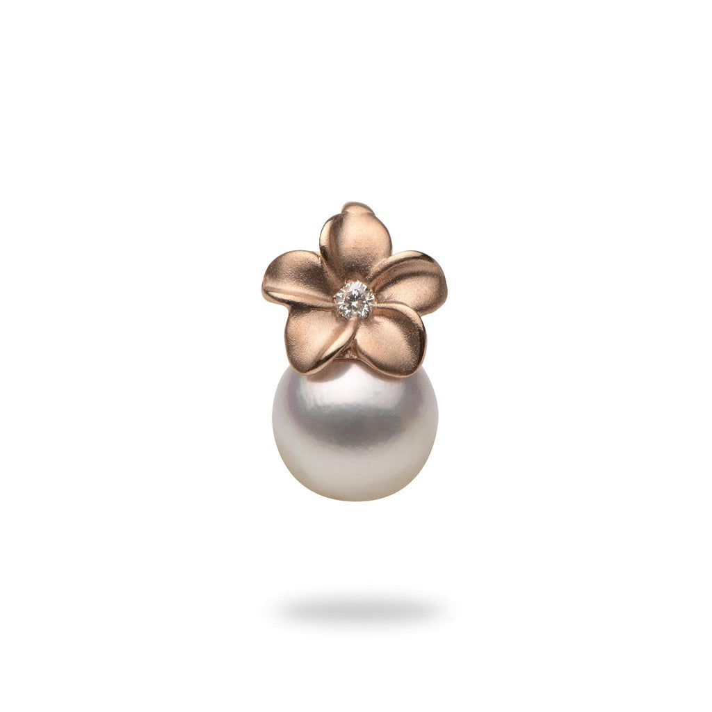 Plumeria Pendant with Akoya Pearl and Diamond in 14K Rose Gold (8mm)