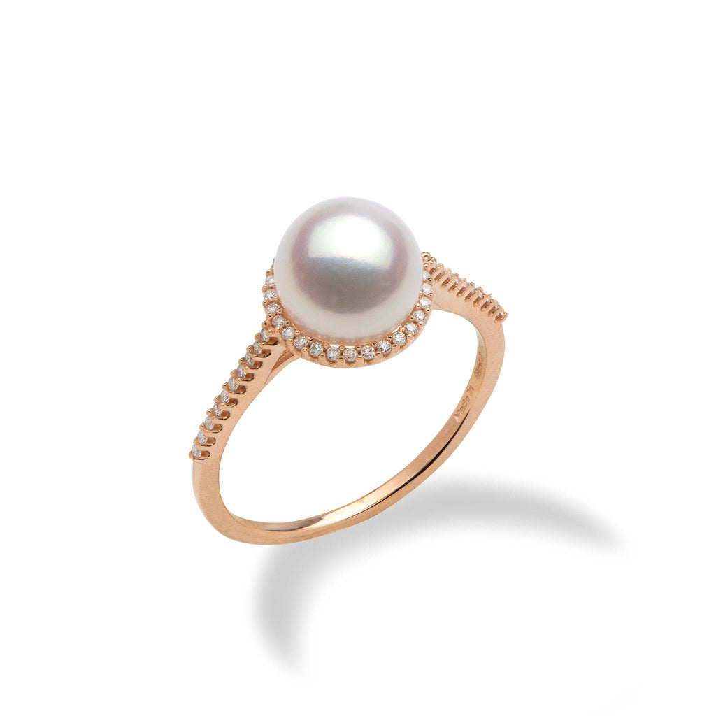 Akoya White Pearl (8mm) Ring in 14K Rose Gold with Diamonds-006-14882