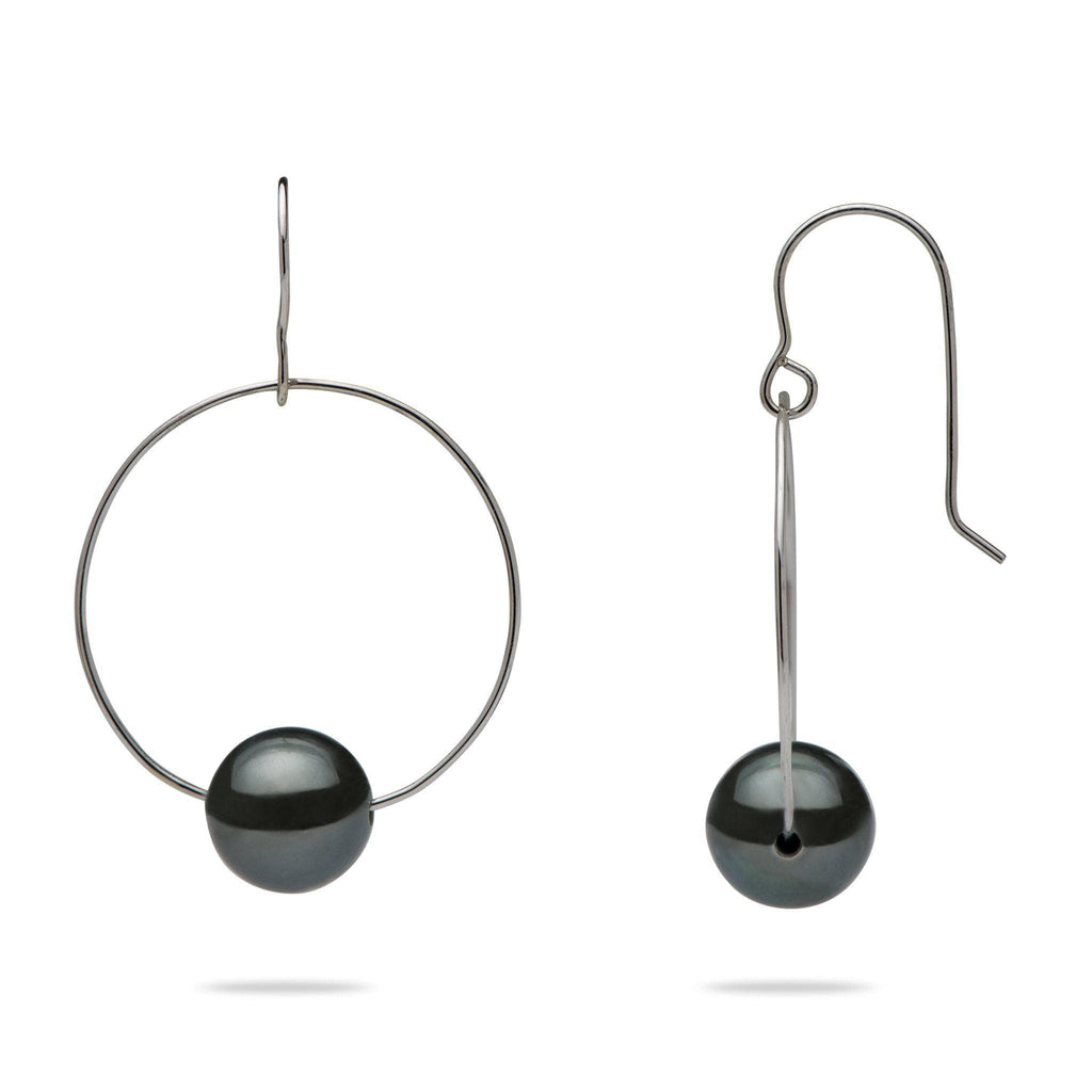 Tahitian Black Pearl (9-10mm) Earrings in 14K White Gold
