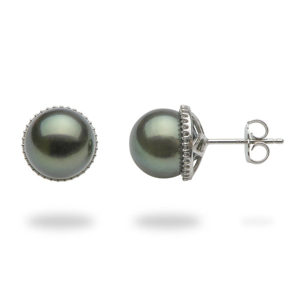 Tahitian Black Pearl Earrings in White Gold with Diamonds-Maui Divers Jewelry