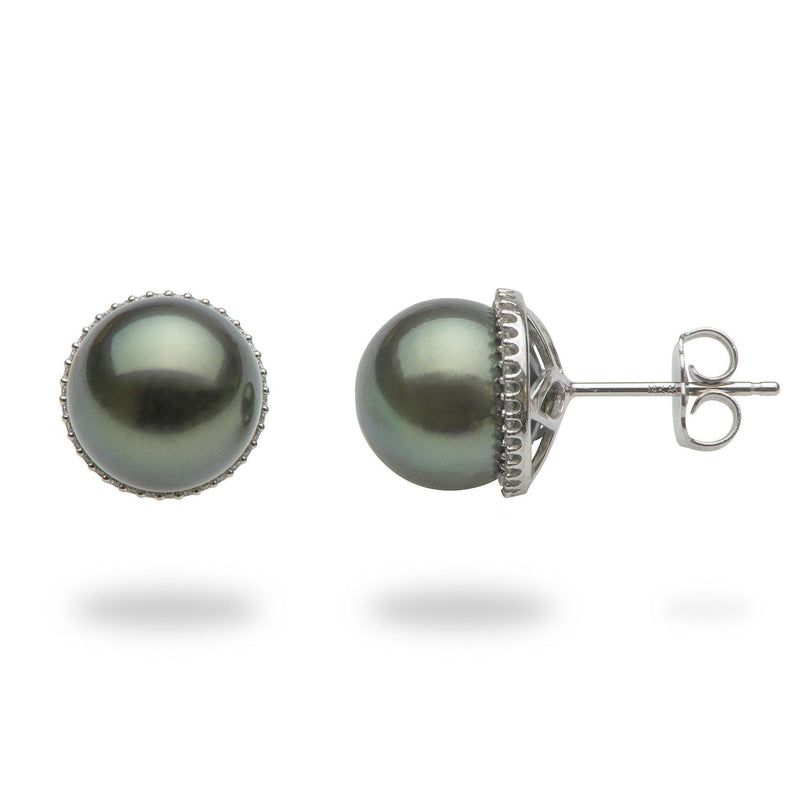 Tahitian Black Pearl Earrings in 14K White Gold with Diamonds - Maui Divers Jewelry