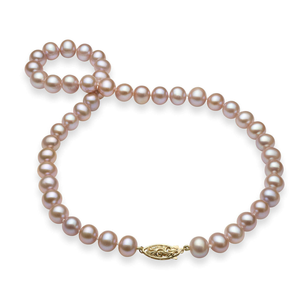 Lavender Freshwater Pearl (8-11.5mm) Strand in 14K Yellow Gold 006-14891
