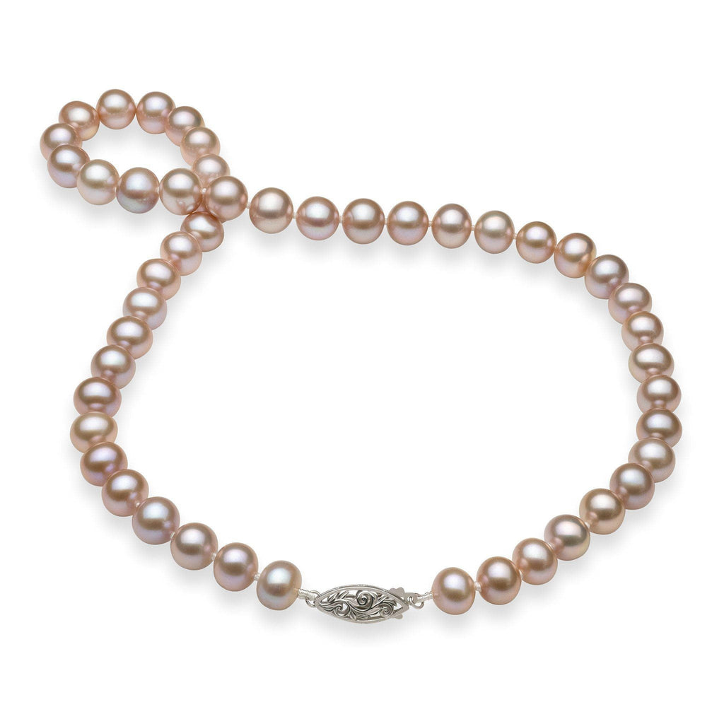 Lavender Freshwater Pearl (8-11.5mm) Strand in 14K White Gold 006-14892