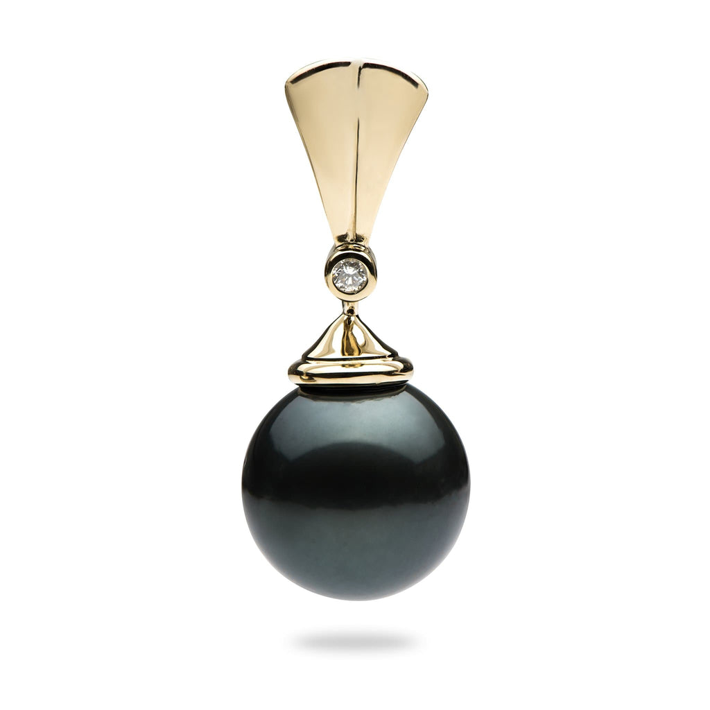 Tahitian Black Pearl Pendant with Diamonds in 14K Yellow Gold(12-13mm) - Maui Divers Jewelry