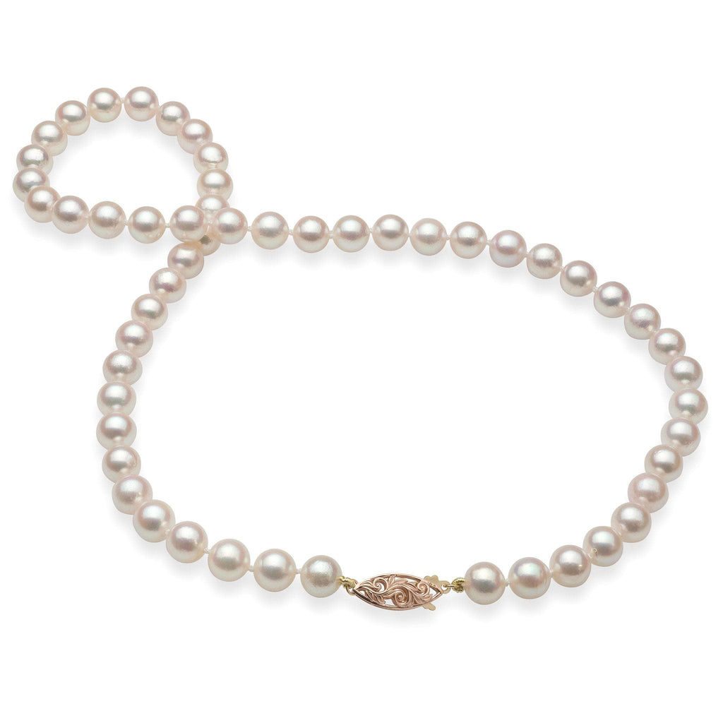 Akoya Pearl (7-8mm) Strand in 14K Rose-Yellow Gold