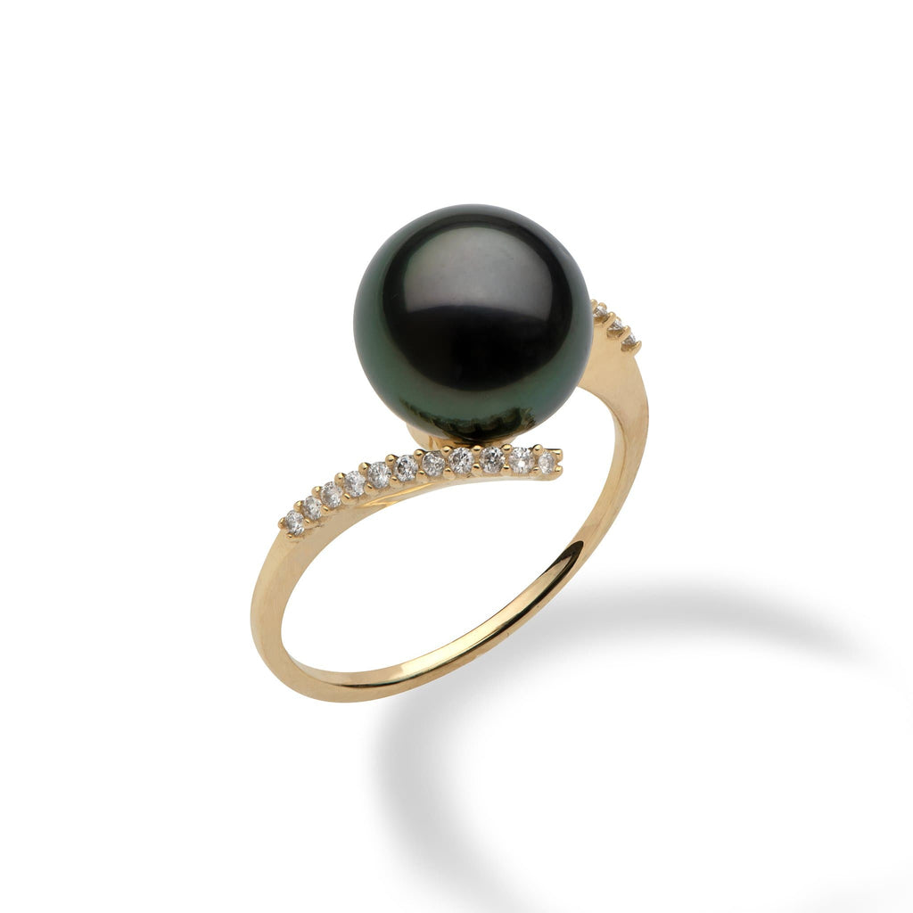 Tahitian Black Pearl(10-11mm) Ring in 14K Yellow Gold-006-14907