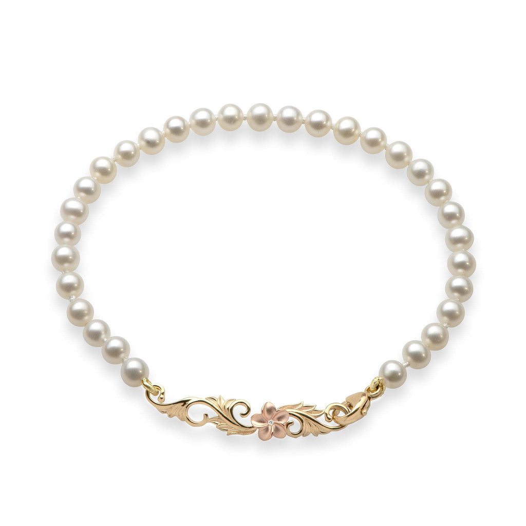 Freshwater Pearl (4-4.5mm) Bracelet in 14K Yellow & Rose Gold