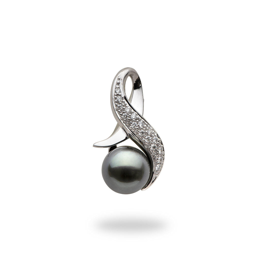 Tahitian black pearl pendant with diamonds