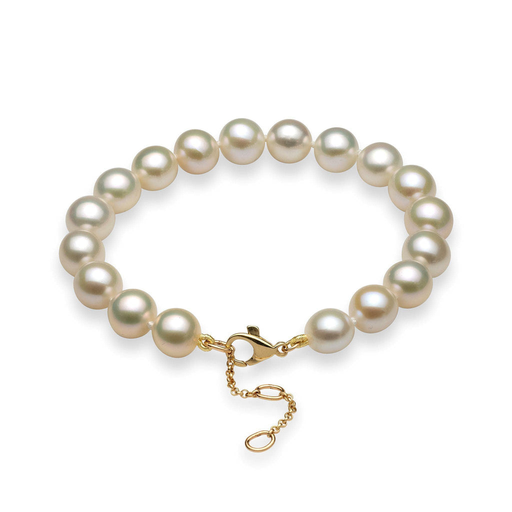 White Freshwater Pearl (9-10mm) Bracelet in 14K Yellow Gold 006-14930