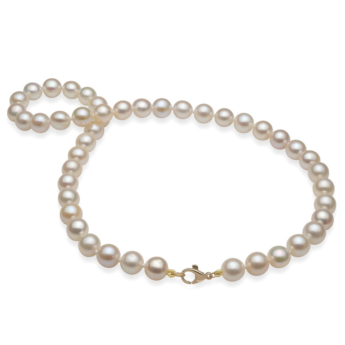 White Freshwater Pearl Strand in 14K Yellow Gold-[SKU]