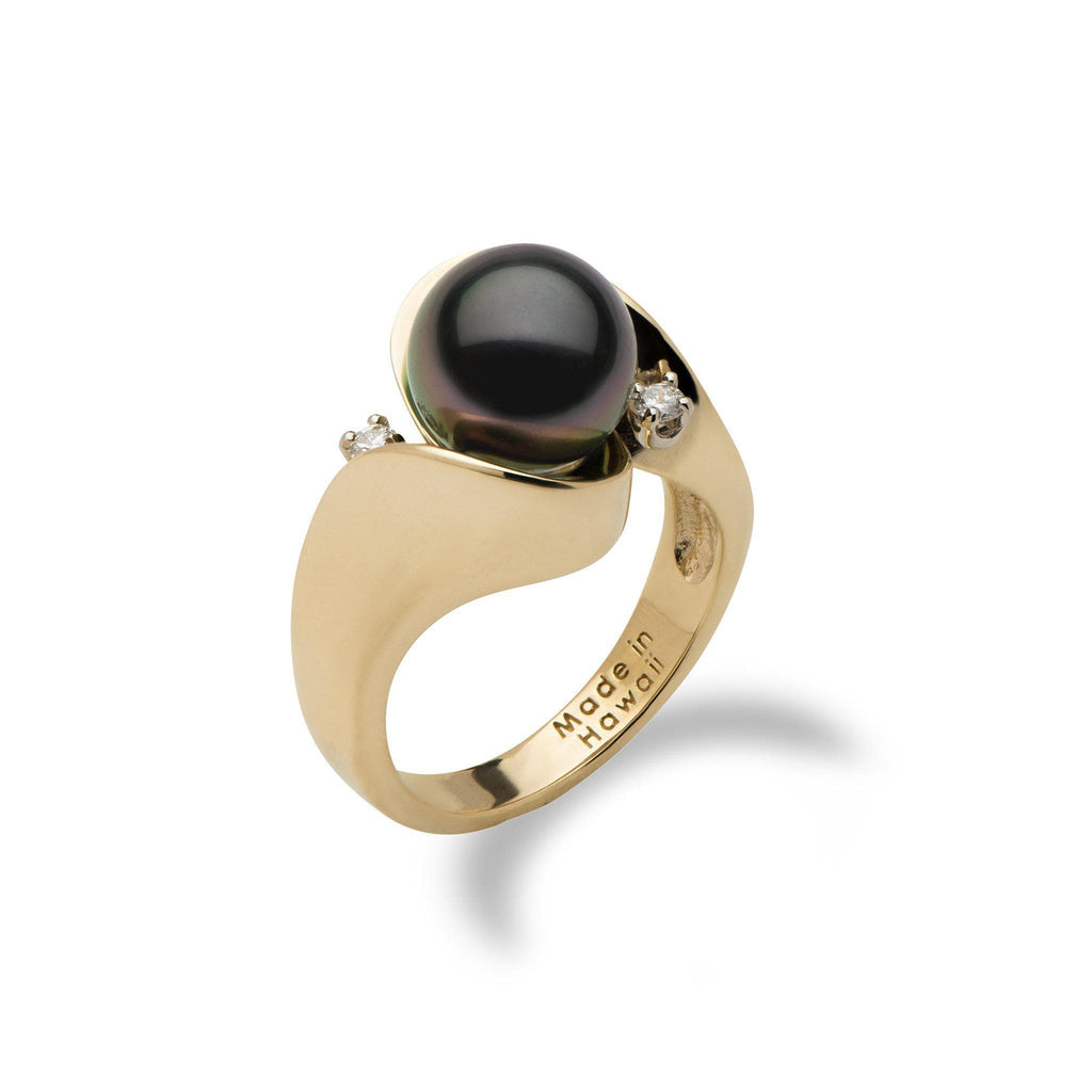 Tahitian Black Pearl Ring with Diamonds in 14K Yellow Gold (9-10mm) - Maui Divers Jewelry