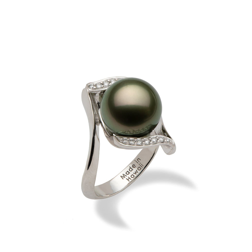 Tahitian Black Pearl Ring with Diamonds in 14K White Gold (11-12mm)