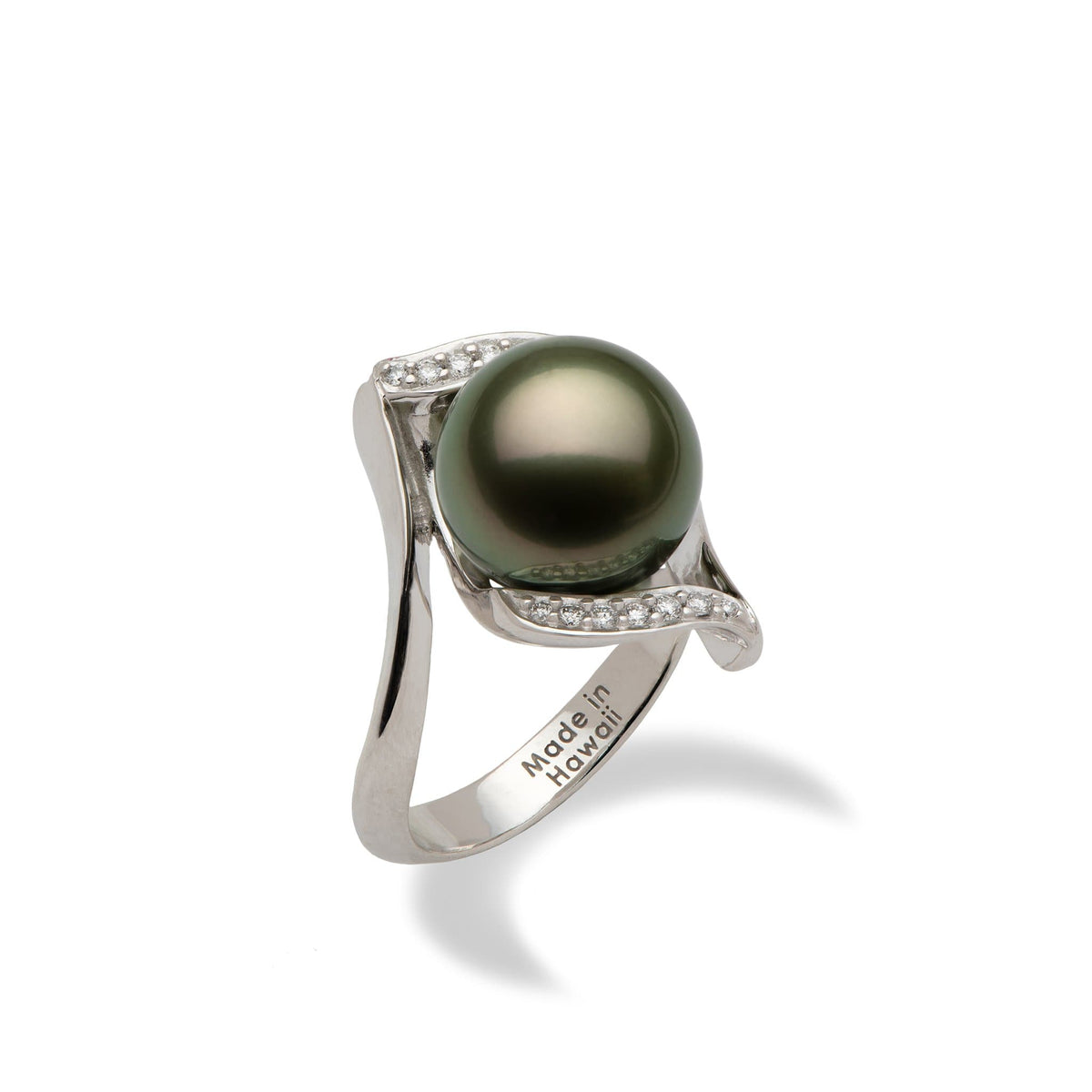 Tahitian Black Pearl Ring with Diamonds in 14K White Gold (11-12mm) - Maui Divers Jewelry