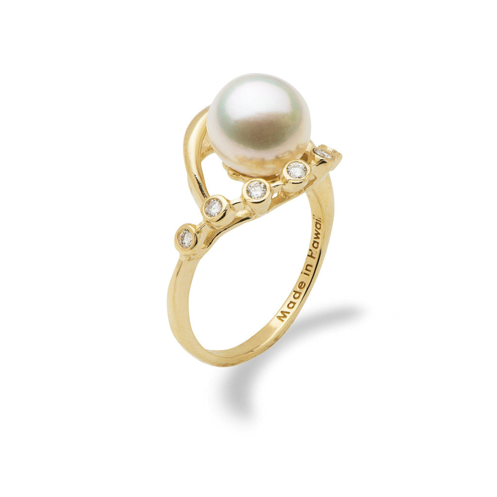 White Freshwater Pearl in 14K Yellow Gold Ring with Diamonds