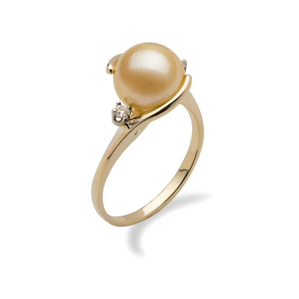 Gold South Sea Pearl Ring in 14K Yellow Gold with Diamonds
