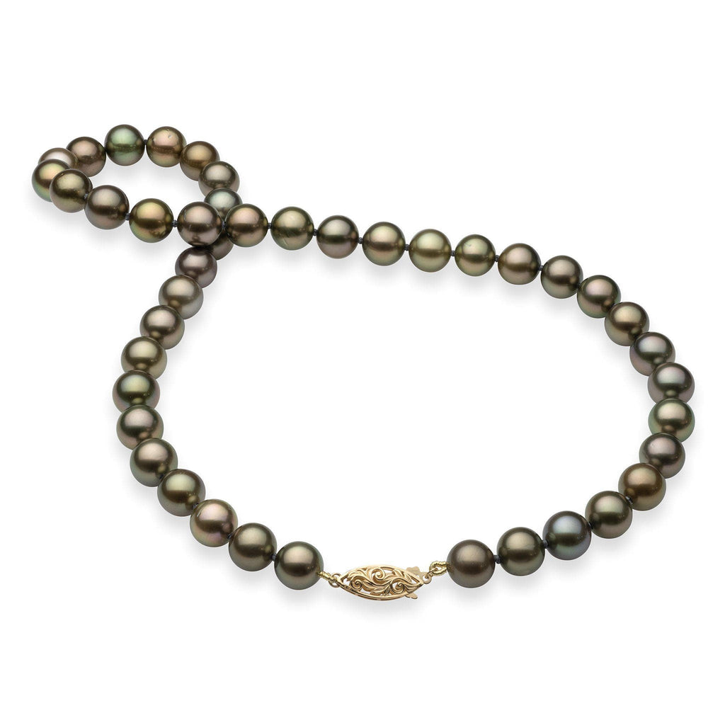 Tahitian Black Pearl (9-10mm) Strand in 14K Yellow Gold 006-14938