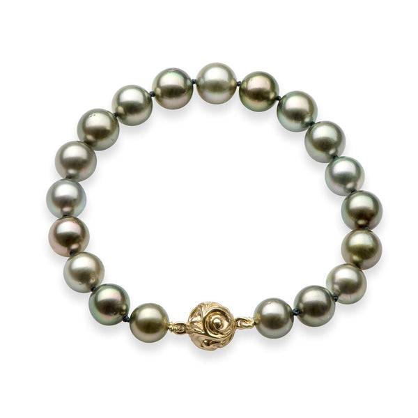 Tahitian Black Pearl (8-9mm) Bracelet with 14k Yellow Gold Magnetic Ball Clasp-Maui Divers Jewelry