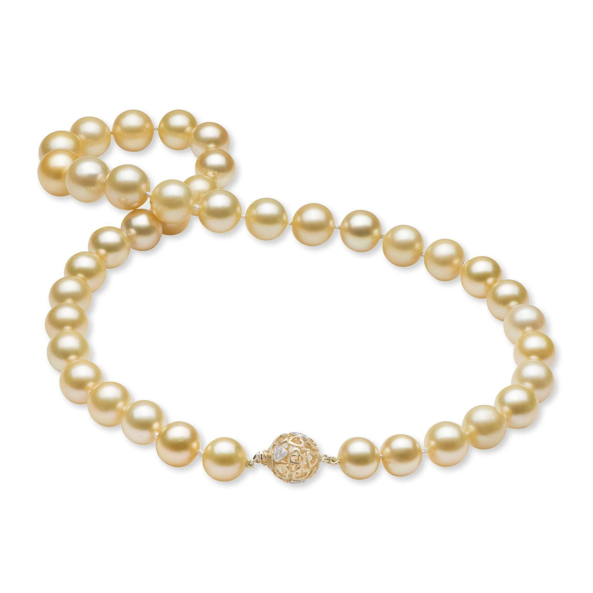 "18-19"" South Sea Gold Pearl Strand in 14K Yellow Gold (9-12mm)-[SKU]"