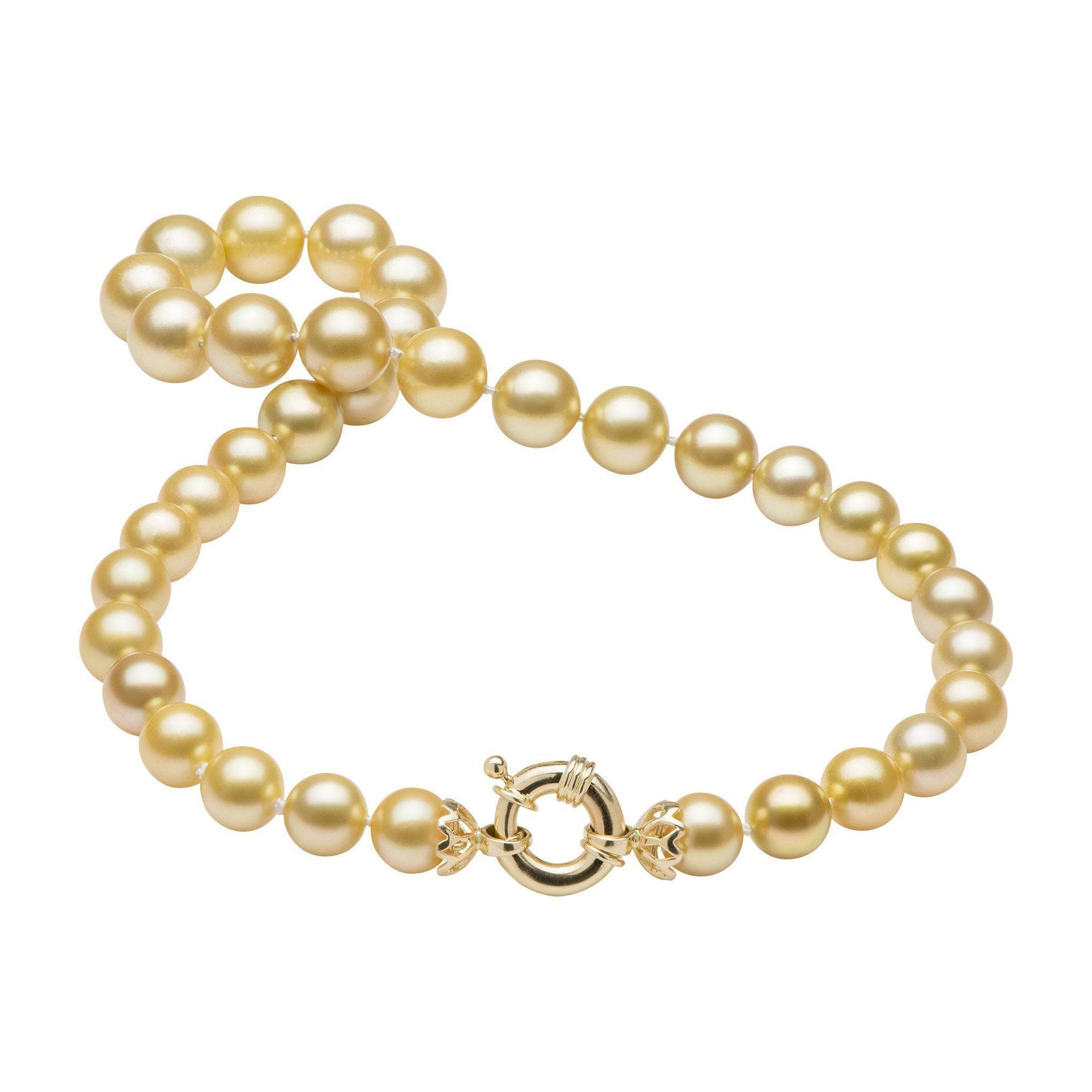 South Sea Golden Pearl Strand in 14K Yellow Gold (10-13mm)-[SKU]