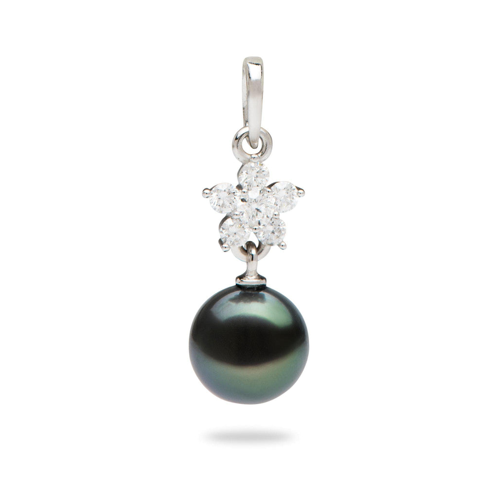 Tahitian Black Pearl Pendant in 14K White Gold