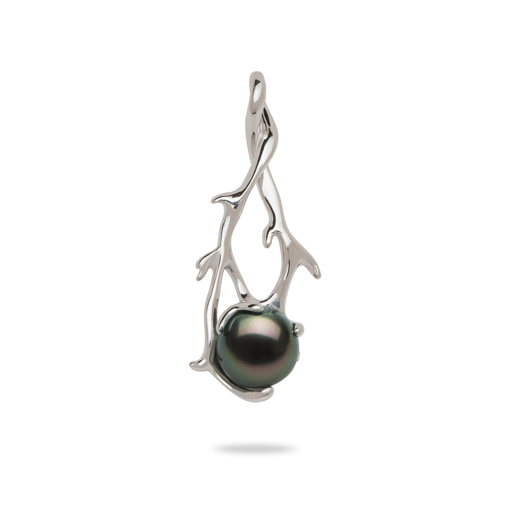 Hawaiian Heritage Tahitian Pearl Pendant in White Gold-[SKU]