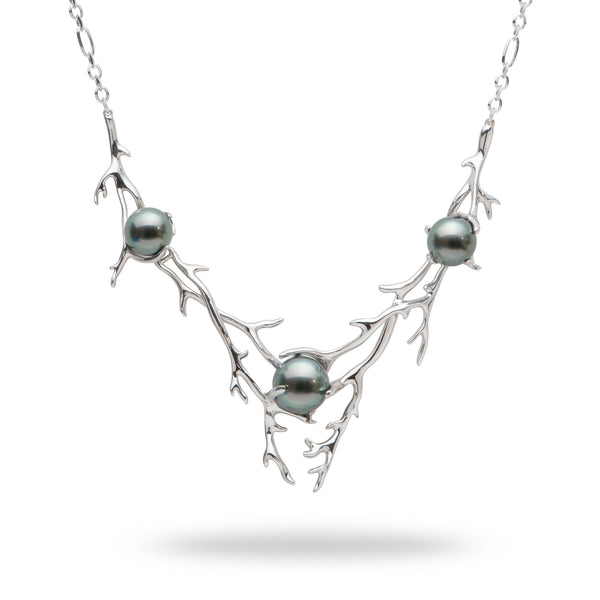 "16.5-18"" Hawaiian Heritage Tahitian Pearl Necklace in White Gold-Maui Divers Jewelry"