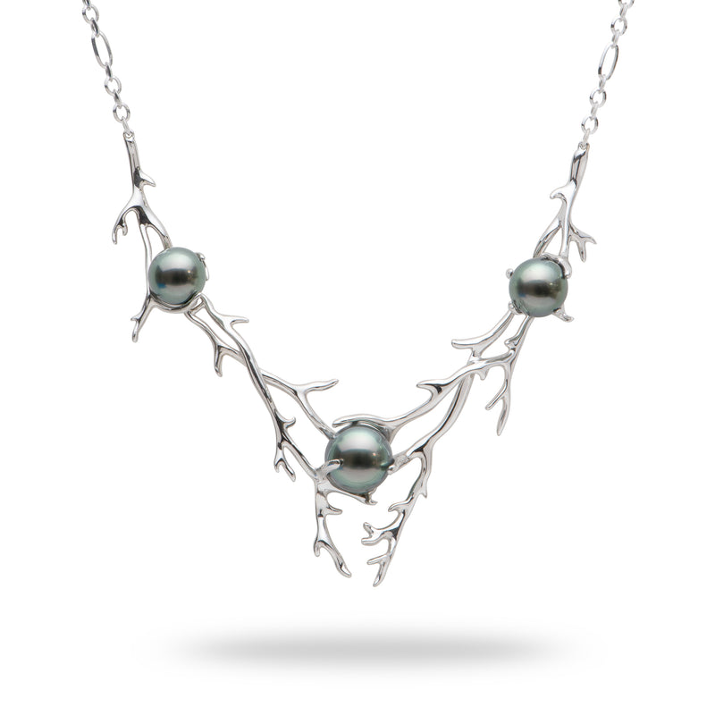 Hawaiian Heritage Tahitian Pearl Necklace in 14K White Gold (8-10mm) - Maui Divers Jewelry