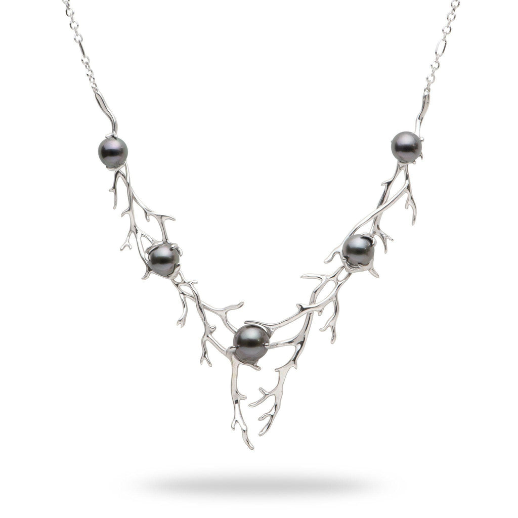 Hawaiian Heritage Tahitian Pearl Necklace in 14K White Gold (8-11mm) - Maui Divers Jewelry