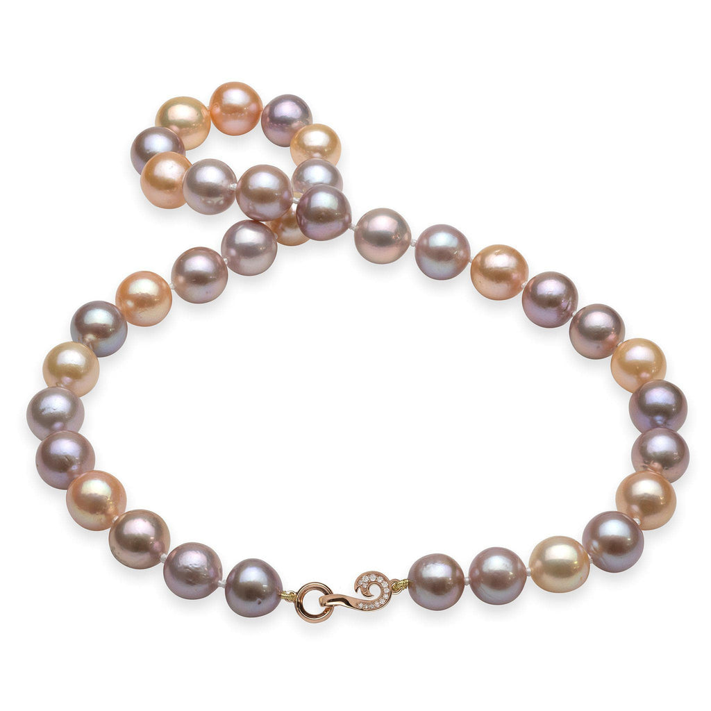 Pink, Purple, and White Mixed Freshwater Pearl Strand with 14K Rose Gold Clasp and Diamonds