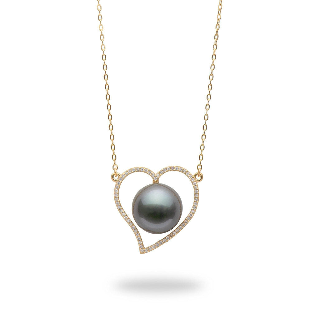 Tahitian Black Pearl Necklace in 14K Yellow Gold (12-13mm)